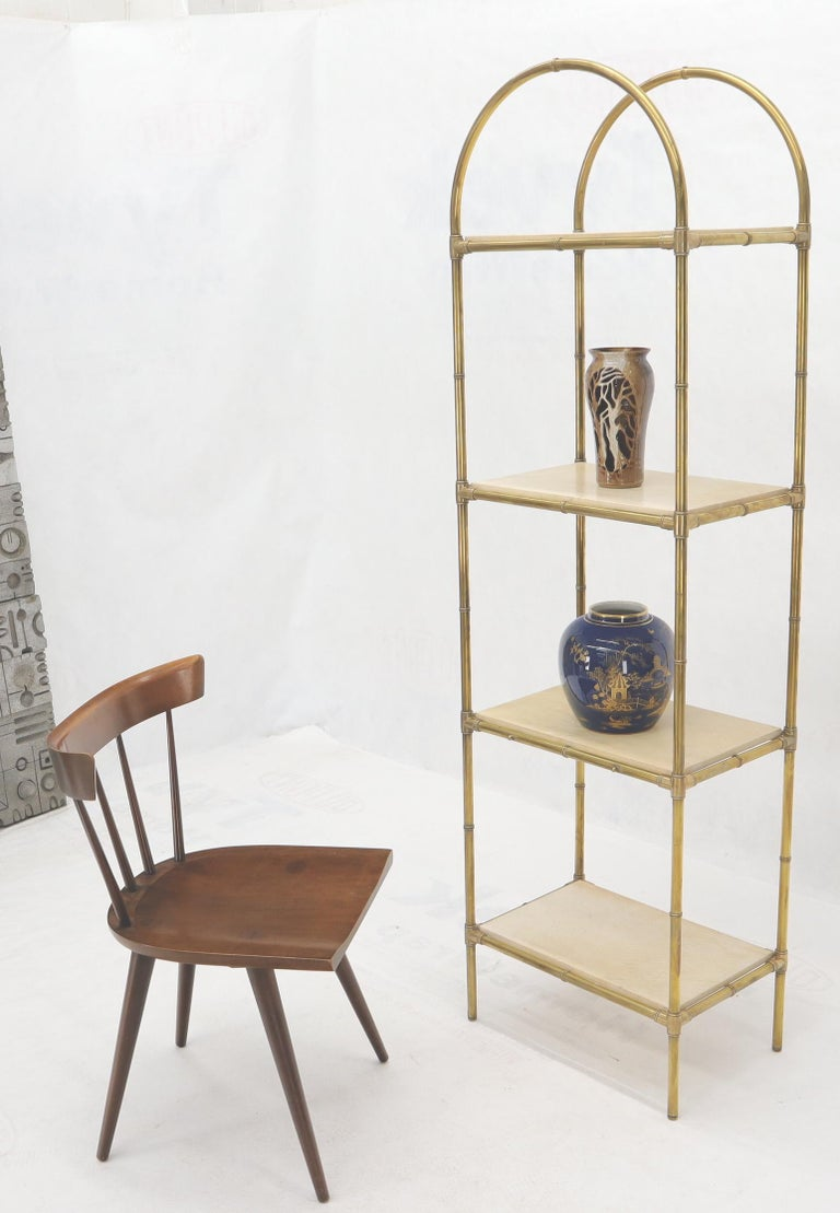 Pair of machined solid brass heavy tube faux bamboo 4 tier Italian Mid-Century Modern étagères shelves.