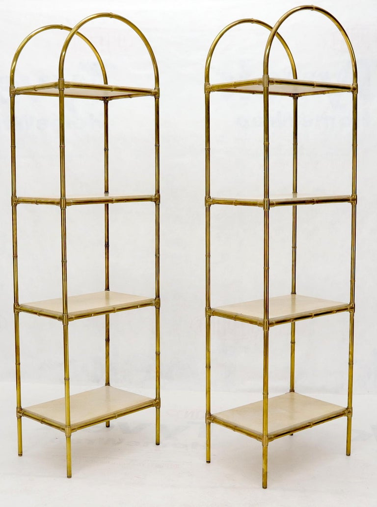 Italian Pair Solid Brass Faux Bamboo Arch Shape Top Goat Skin Parchment Shelves Etageres For Sale