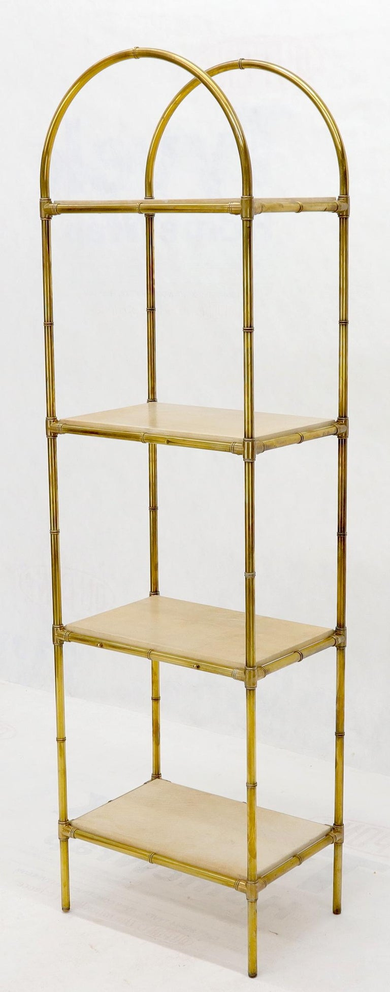 Pair Solid Brass Faux Bamboo Arch Shape Top Goat Skin Parchment Shelves Etageres In Excellent Condition For Sale In Blairstown, NJ