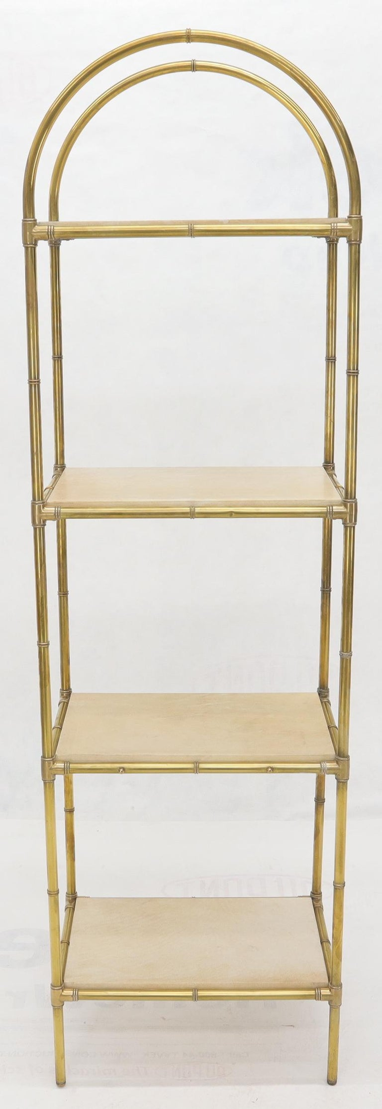20th Century Pair Solid Brass Faux Bamboo Arch Shape Top Goat Skin Parchment Shelves Etageres For Sale