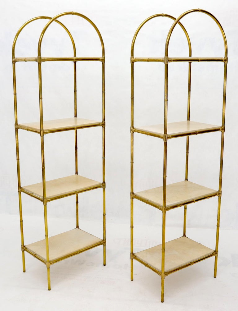 Pair Solid Brass Faux Bamboo Arch Shape Top Goat Skin Parchment Shelves Etageres For Sale 1