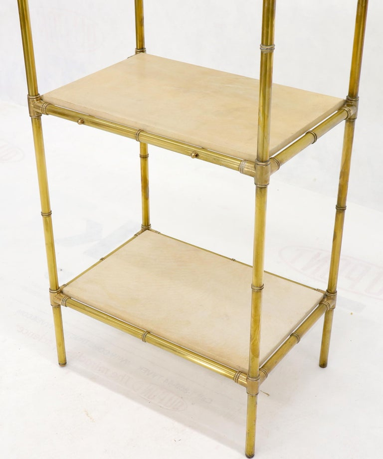 Pair Solid Brass Faux Bamboo Arch Shape Top Goat Skin Parchment Shelves Etageres For Sale 2