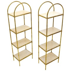 Pair Solid Brass Faux Bamboo Arch Shape Top Goat Skin Parchment Shelves Etageres