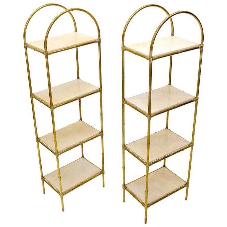 Pair Solid Brass Faux Bamboo Arch Shape Top Goat Skin Parchment Shelves Etageres For Sale