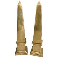 Pair of Solid Brass Obelisks