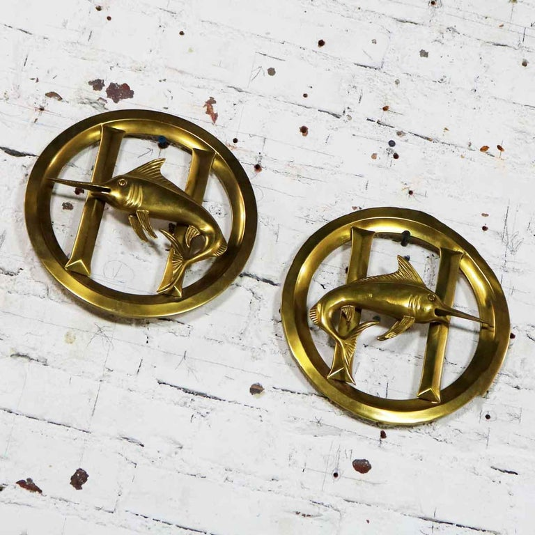 Pair of Solid Brass Porthole Cover Grills with Swordfish Design Nautical Decor In Good Condition For Sale In Topeka, KS