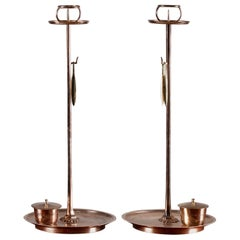 "Pair of Solid Bronze ""Shokudai"" Candle Stands Meiji Period Japan"