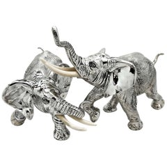 Pair of Solid Silver Elephant Models Figures German circa 1930 Large