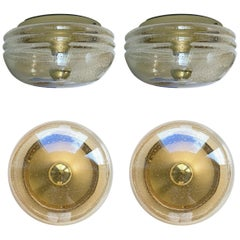 Pair of Space Age Hillebrand Brass & Glass Flushmount or Wall Lamps 1970 Germany