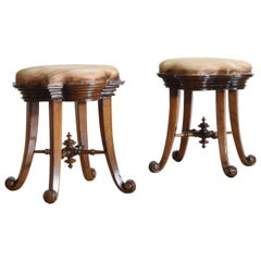 Pair of Spanish Art Nouveau Inspired Oak and Upholstered Stools