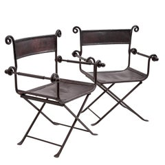 Pair of Spanish Iron Framed Leather Folding Chairs, circa 1950