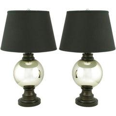 Pair Spherical Mercury Glass Table Lamps