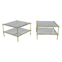 Pair Square Brass Bagues Style Mid-Century Modern Faux Bamboo End Tables C1960