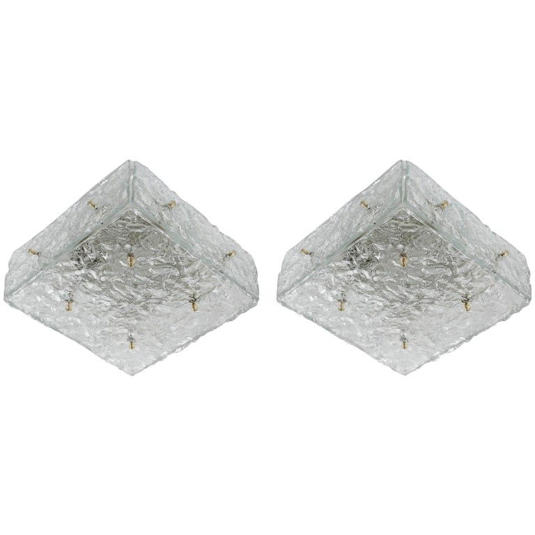 Pair of Square Kalmar Textured Glass Flushmount Lights or Sconces, 1970 For Sale