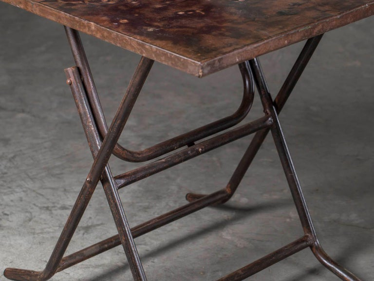 Pair of Square Metal Folding Tables Tubular Metal Legs Found in Asia For Sale 4