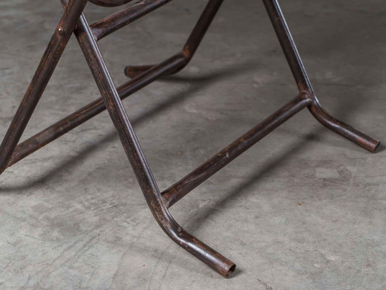 Pair of Square Metal Folding Tables Tubular Metal Legs Found in Asia For Sale 5