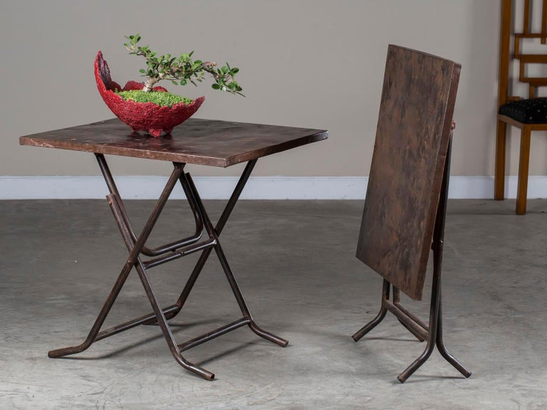 Pair of Square Metal Folding Tables Tubular Metal Legs Found in Asia For Sale 6