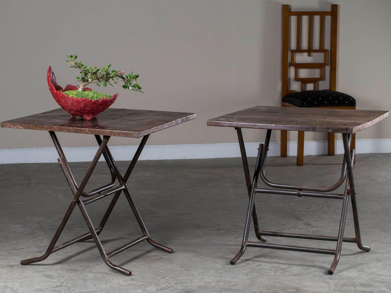 Industrial Pair of Square Metal Folding Tables Tubular Metal Legs Found in Asia For Sale
