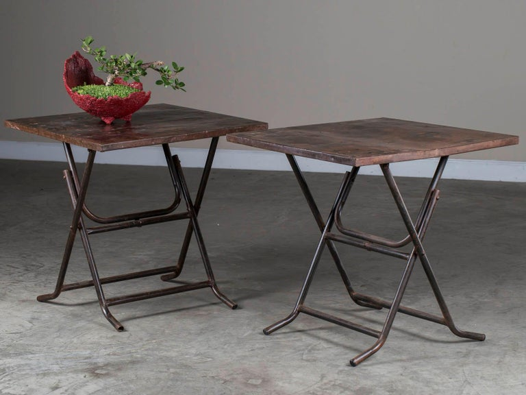 Pair of Square Metal Folding Tables Tubular Metal Legs Found in Asia In Good Condition For Sale In Houston, TX