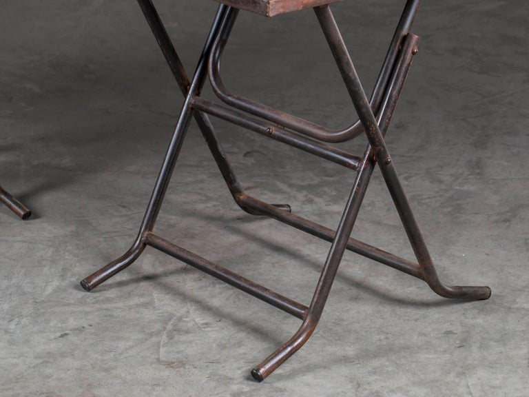 Contemporary Pair of Square Metal Folding Tables Tubular Metal Legs Found in Asia For Sale