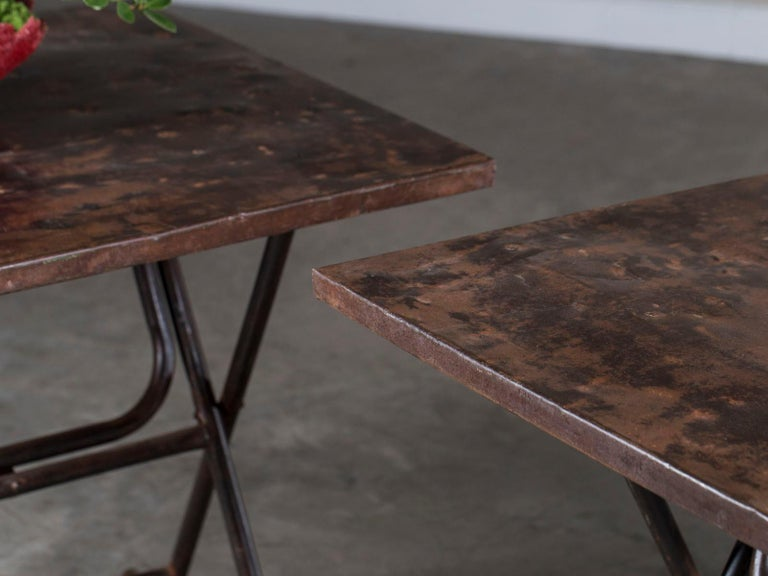 Iron Pair of Square Metal Folding Tables Tubular Metal Legs Found in Asia For Sale