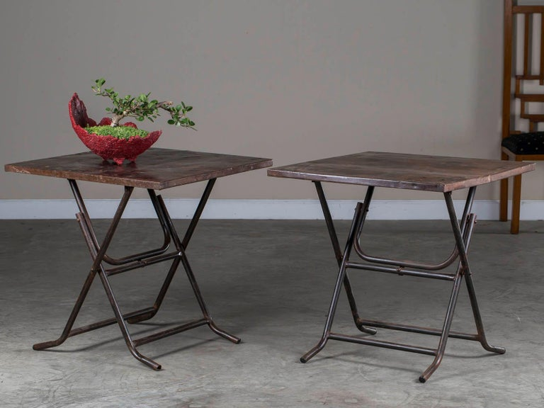 Pair of Square Metal Folding Tables Tubular Metal Legs Found in Asia For Sale 1