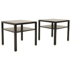 Pair of Square Tables by Edward Wormley for Dunbar. Dark Mahogany, Brass Feet