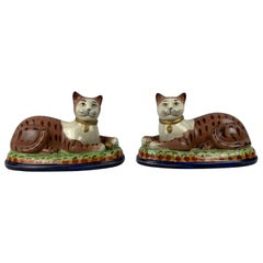 Staffordshire Ceramic Hand Decorated Recumbent Cats-A Pair