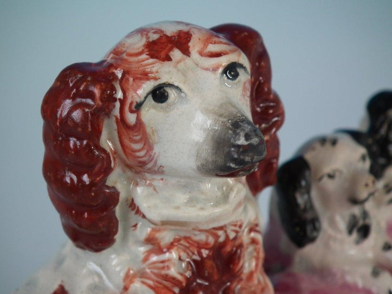 Pair of Staffordshire Spaniel and Pups in Wash Basket For Sale 5