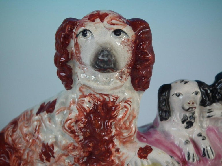 Pair of Staffordshire Spaniel and Pups in Wash Basket For Sale 2