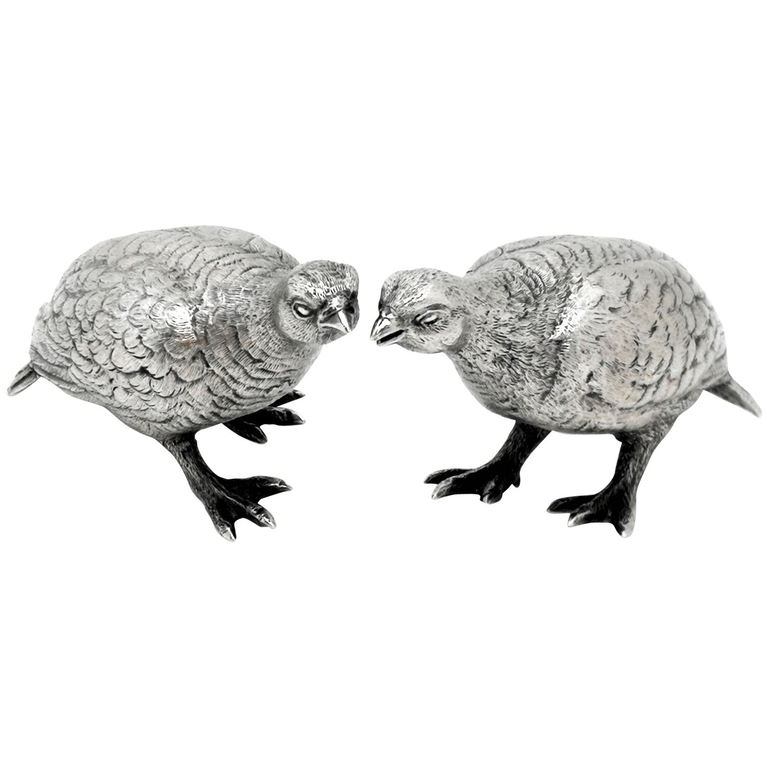 Pair of Sterling Silver Grouse Birds Model Figures 1964