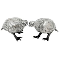 Pair of Sterling Silver Grouse Birds Model Figures, 1964