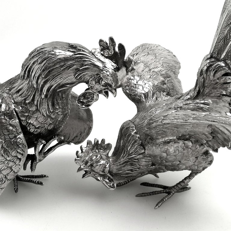 Sterling Silver Table Fighting Cockerels London 1964 Rooster Model Figures Pair 3