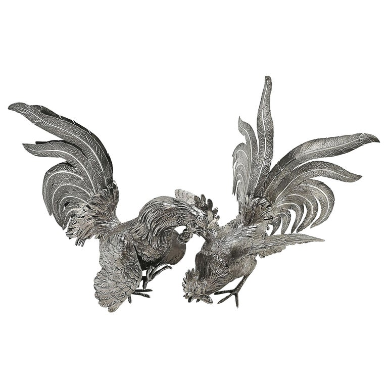 Sterling Silver Table Fighting Cockerels London 1964 Rooster Model Figures Pair
