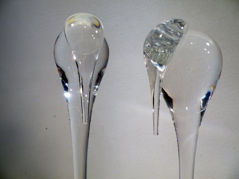 American Pair of Steuben Crystal Modernist Stork Sculptures #8538 Paul Schulze For Sale