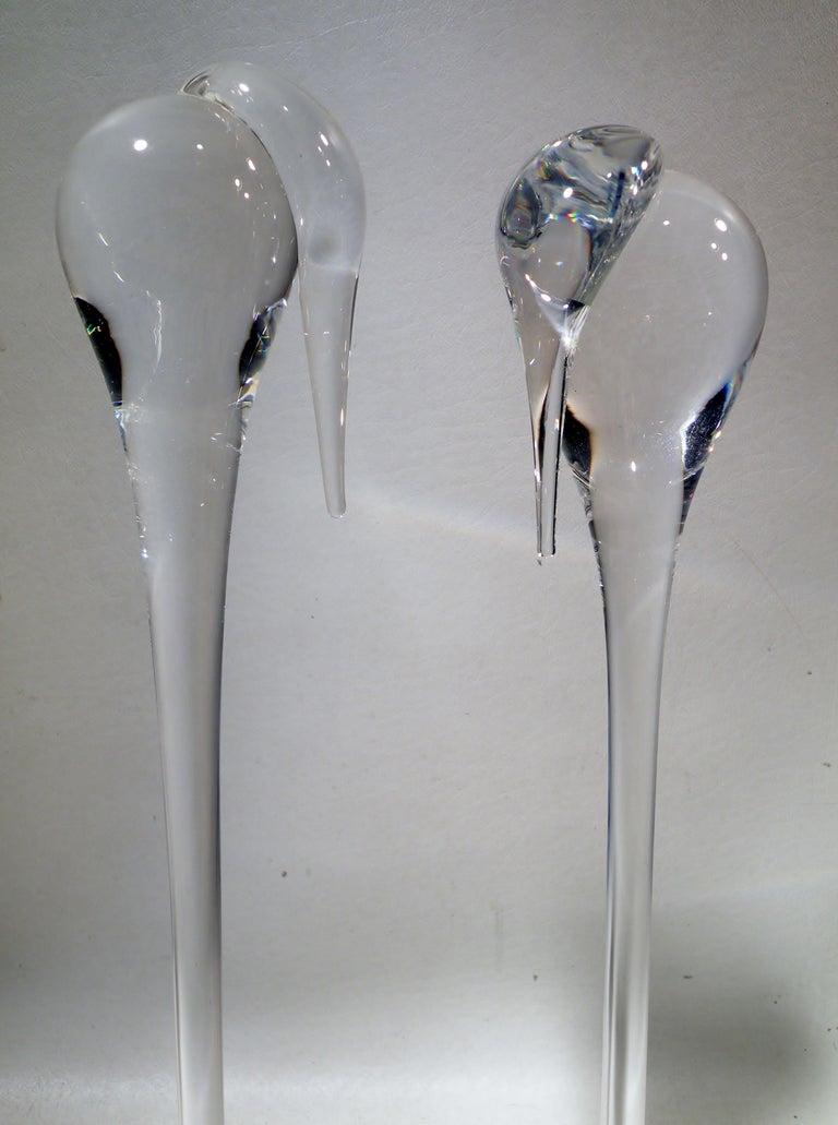 20th Century Pair of Steuben Crystal Modernist Stork Sculptures #8538 Paul Schulze For Sale