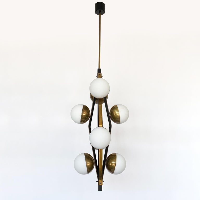 Italian Pair of Stilnovo Brass Eight Globe Pendant Chandeliers For Sale