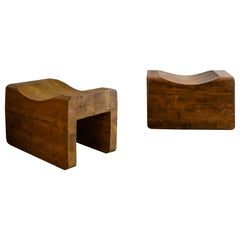 Pair Stools in Solid Pine by K. J. Pettersson & Söner, Sweden, 1970s