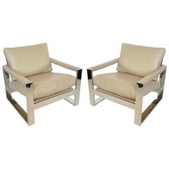 Pair of Streamlined Milo Baughman Flat Wide-Band Leather Chairs