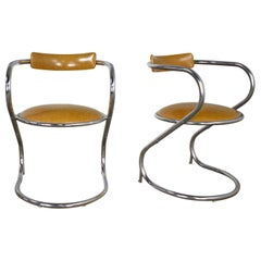 Pair Streamlined Reversed Cantilever Chairs Chrome Gold Faux Leather Vinyl