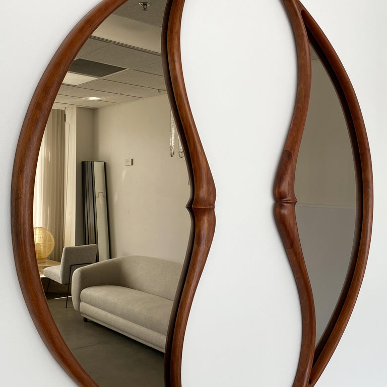 Pair of Studio Craft Movement Carved Sculptural Walnut Wall Mirrors, Mark Levin For Sale 5