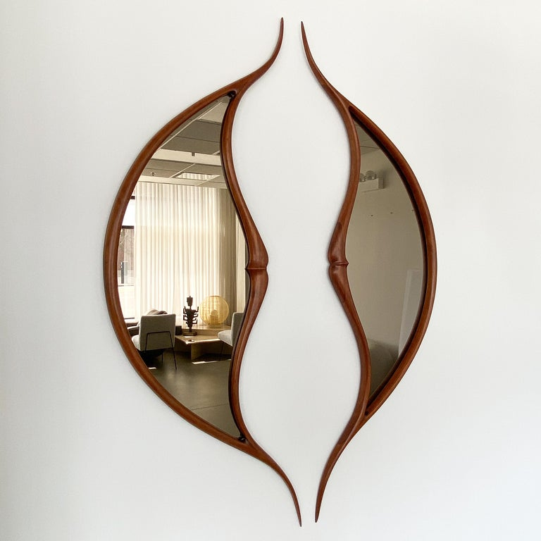 Mid-Century Modern Pair of Studio Craft Movement Carved Sculptural Walnut Wall Mirrors, Mark Levin For Sale