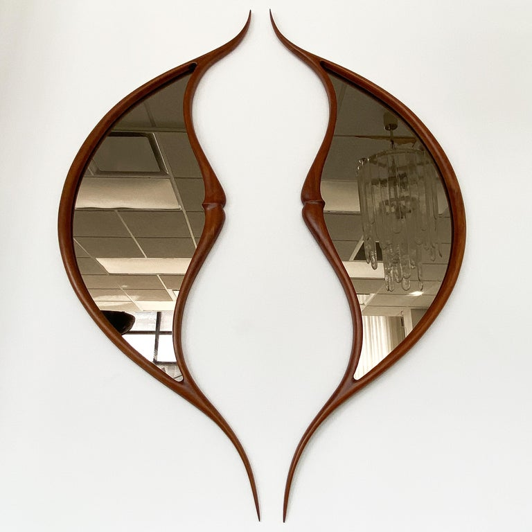 American Pair of Studio Craft Movement Carved Sculptural Walnut Wall Mirrors, Mark Levin For Sale