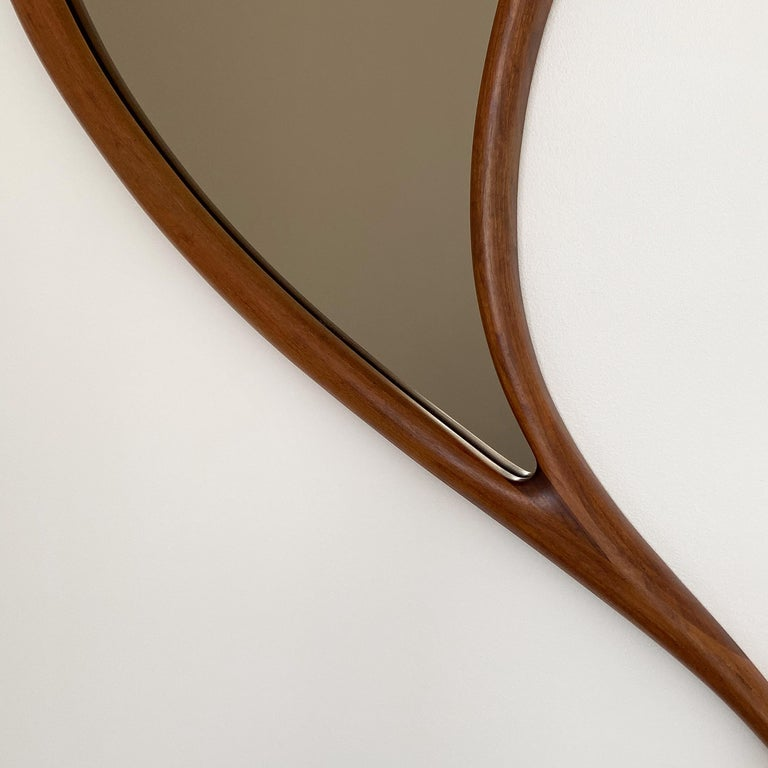 Pair of Studio Craft Movement Carved Sculptural Walnut Wall Mirrors, Mark Levin In Good Condition For Sale In Chicago, IL