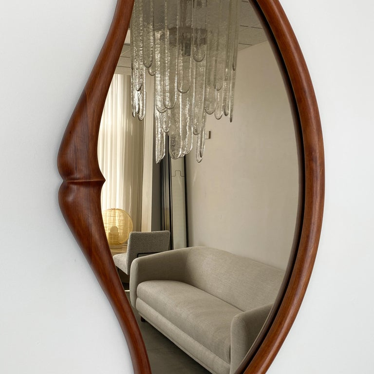 Pair of Studio Craft Movement Carved Sculptural Walnut Wall Mirrors, Mark Levin For Sale 1
