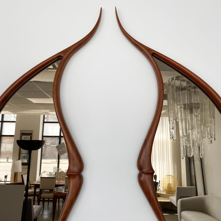 Pair of Studio Craft Movement Carved Sculptural Walnut Wall Mirrors, Mark Levin For Sale 2