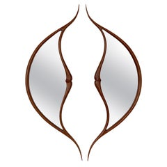 Pair of Studio Craft Movement Carved Sculptural Walnut Wall Mirrors, Mark Levin