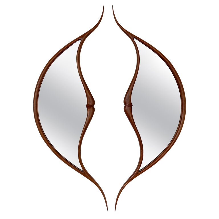 Pair of Studio Craft Movement Carved Sculptural Walnut Wall Mirrors, Mark Levin For Sale