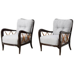 Pair of Style of Paolo Buffa Armchairs circa 1940s Italy New Upholstery