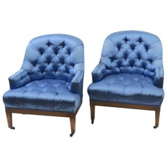 Pair of Stylish Satin Upholstered Chairs